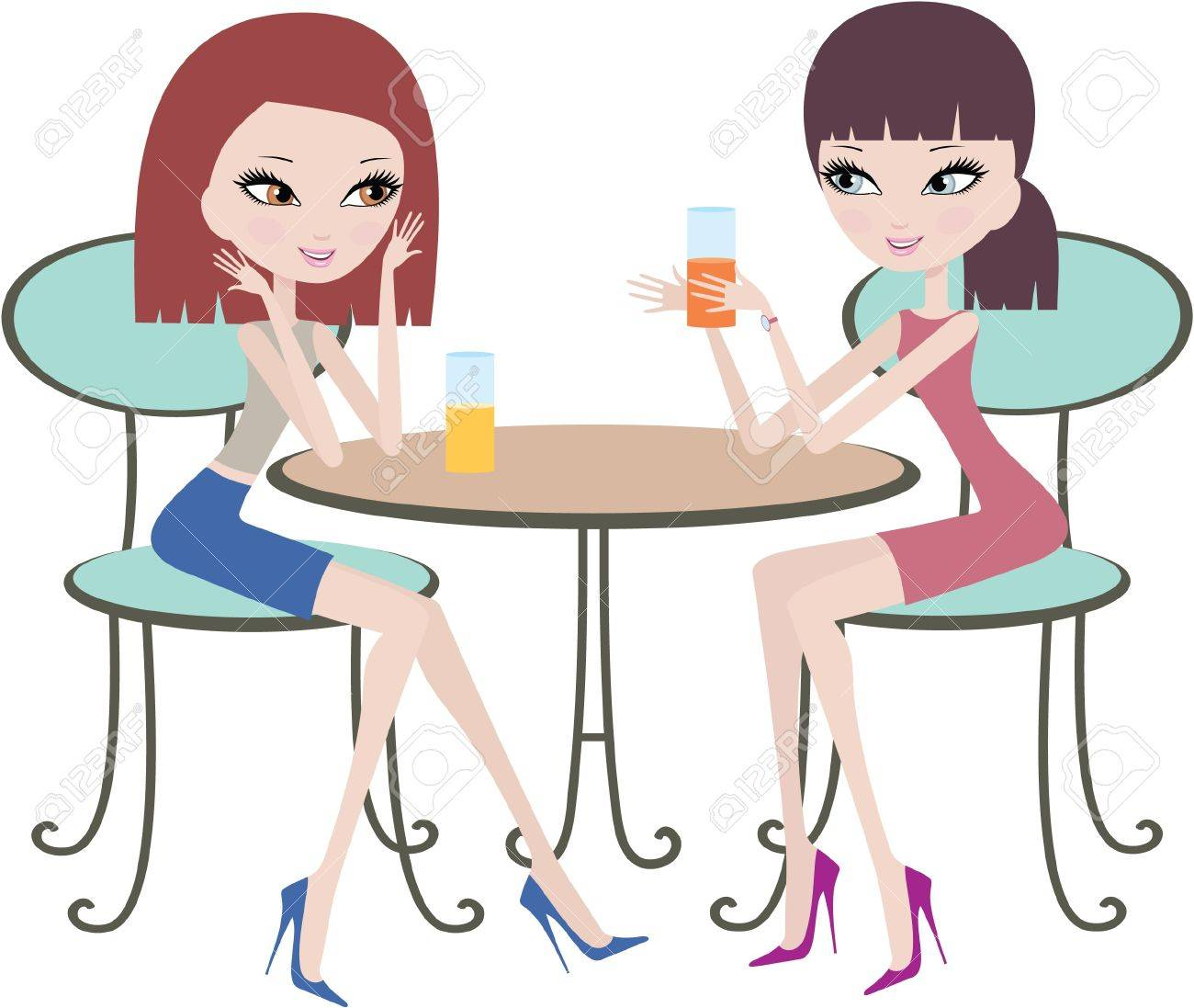 Two friends in cafe Stock Vector - 11113038