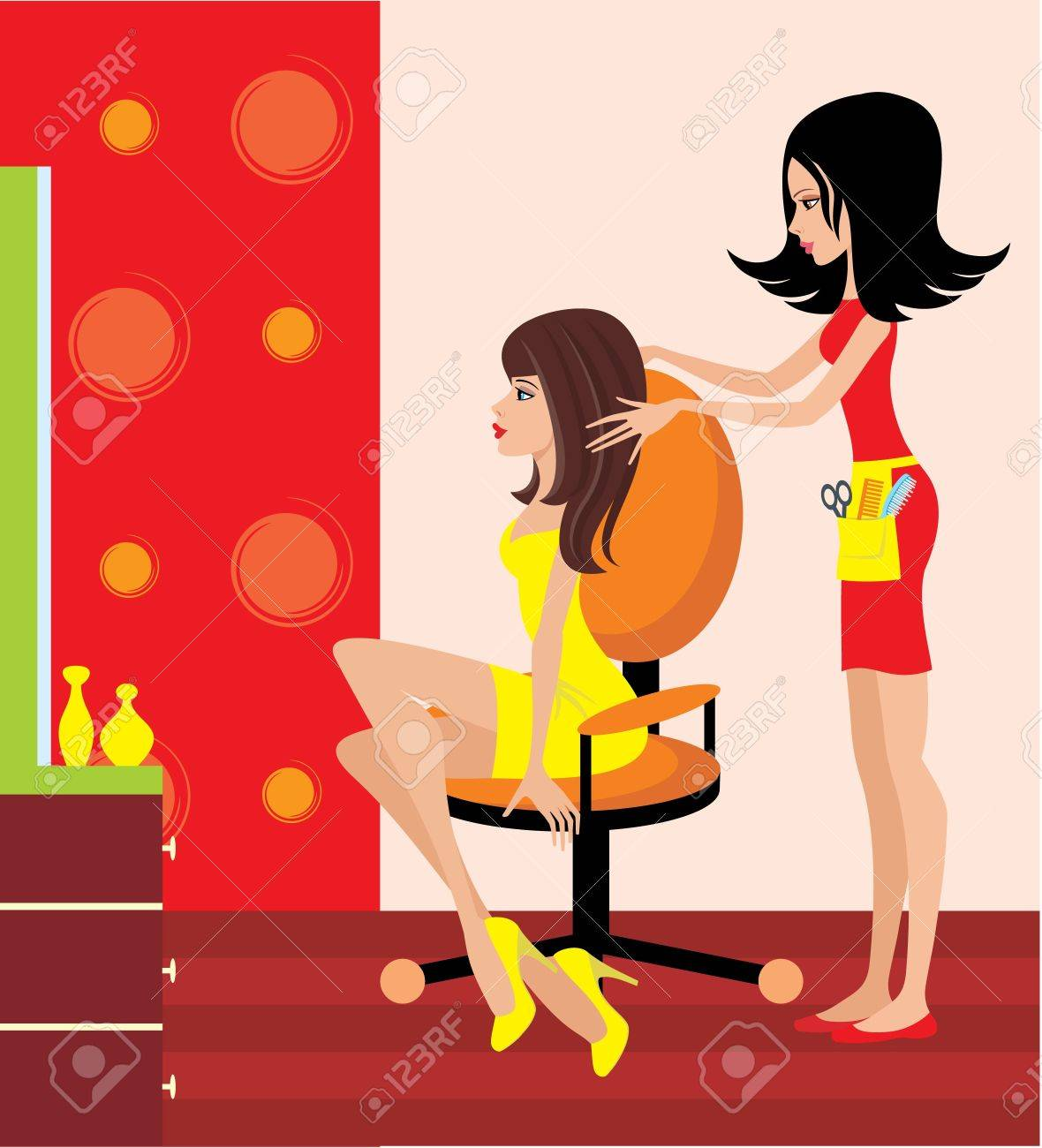 Hair salon chair isolated stock photos illustrations and vector art - Chair Salon Woman In A Beauty Salon