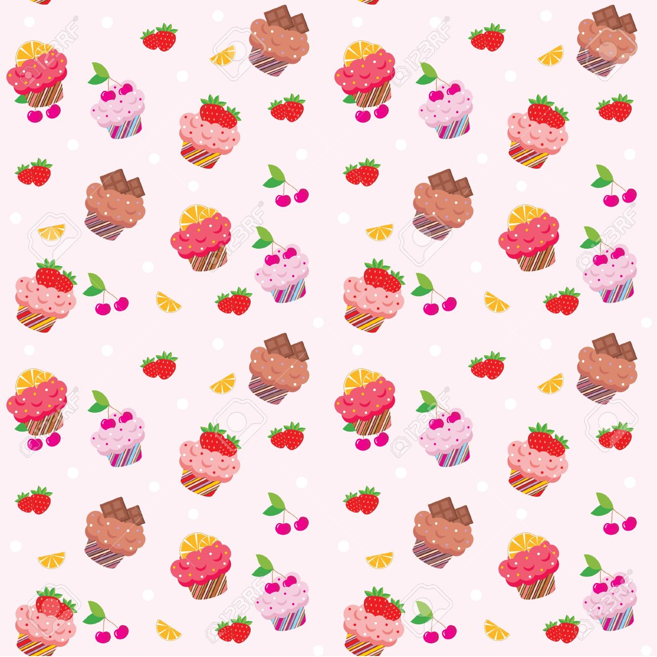 Seamless Cupcake Pattern Royalty Free Cliparts Vectors And Stock