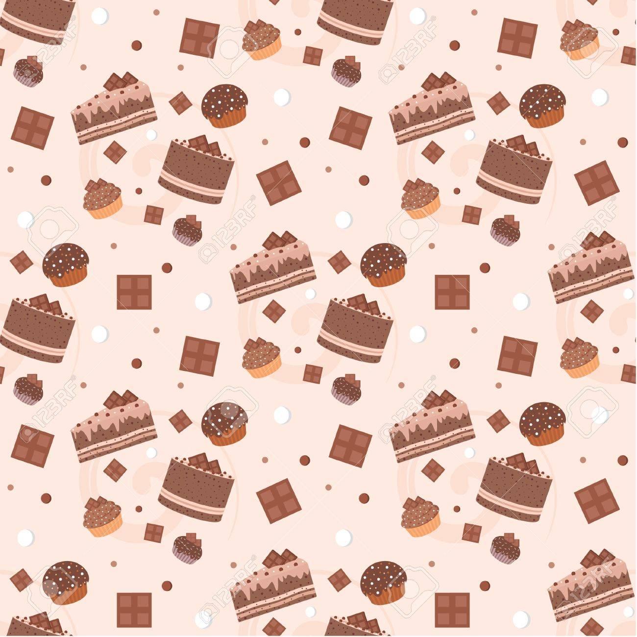 Seamless chocolate cakes pattern Stock Vector - 11656199