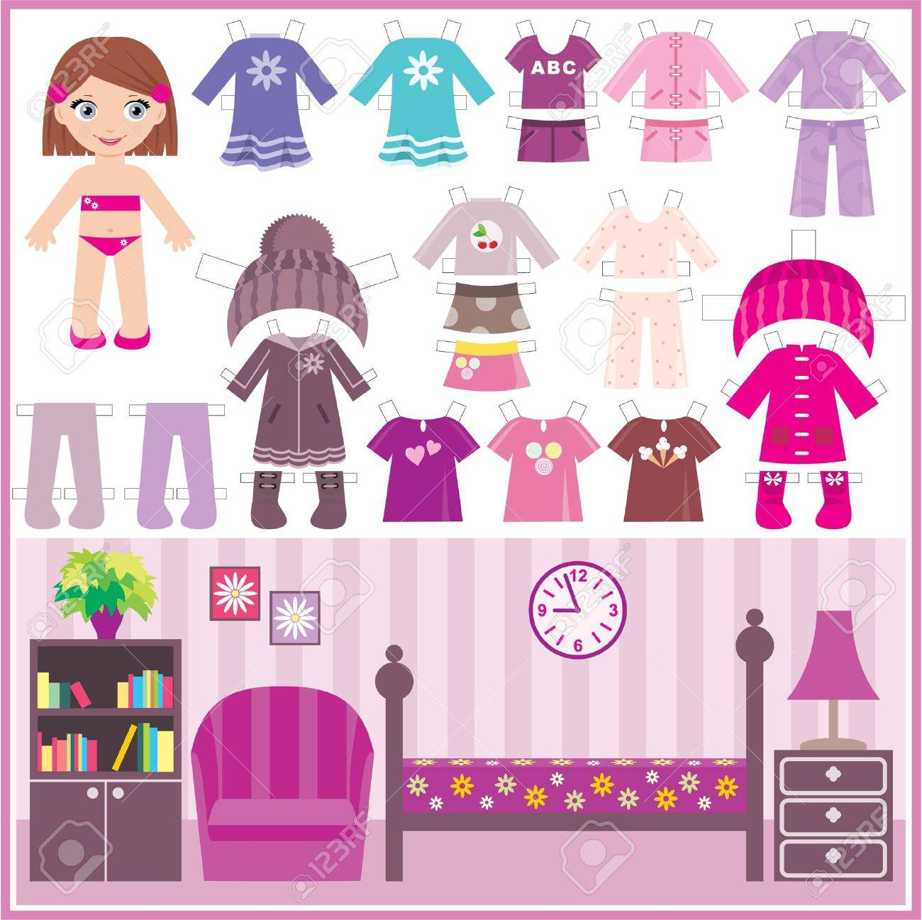 Paper doll with a set of clothes and a room Stock Vector - 12044440