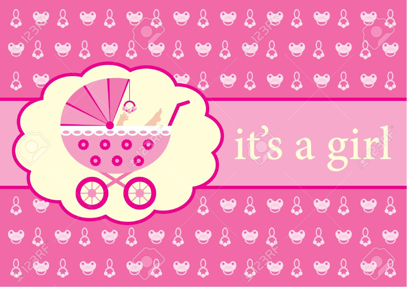 Baby Girl Arrival Announcement Card Royalty Free Cliparts – Announcement of Birth of Baby Girl