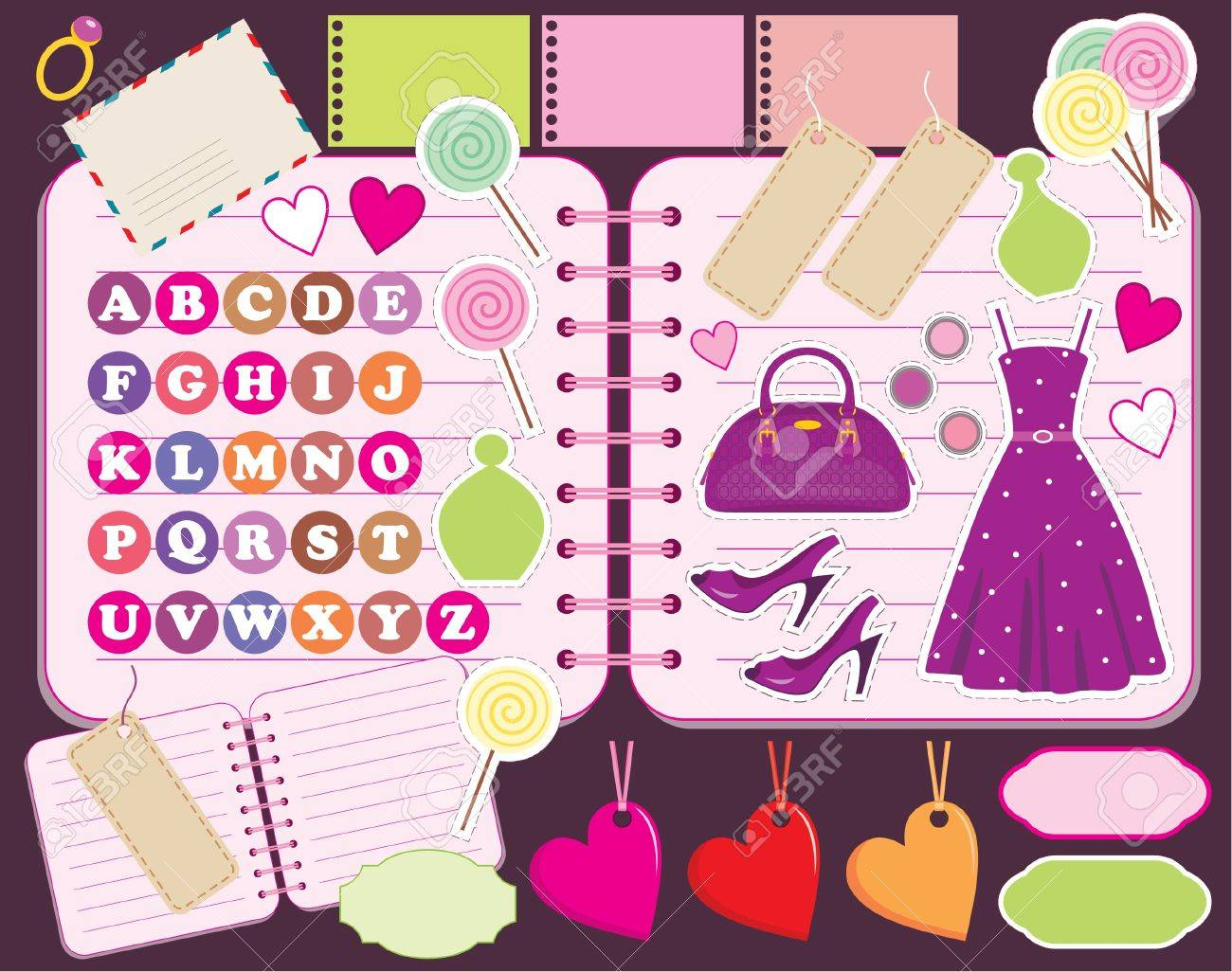 How to scrapbook letters - Scrapbook Elements With Letters And Clothes Stock Vector 12189934