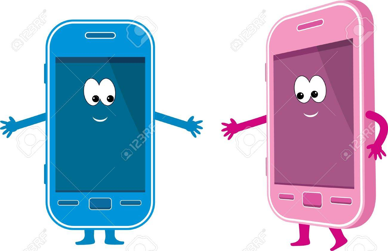 Two phones - pink and blue Stock Vector - 12189952