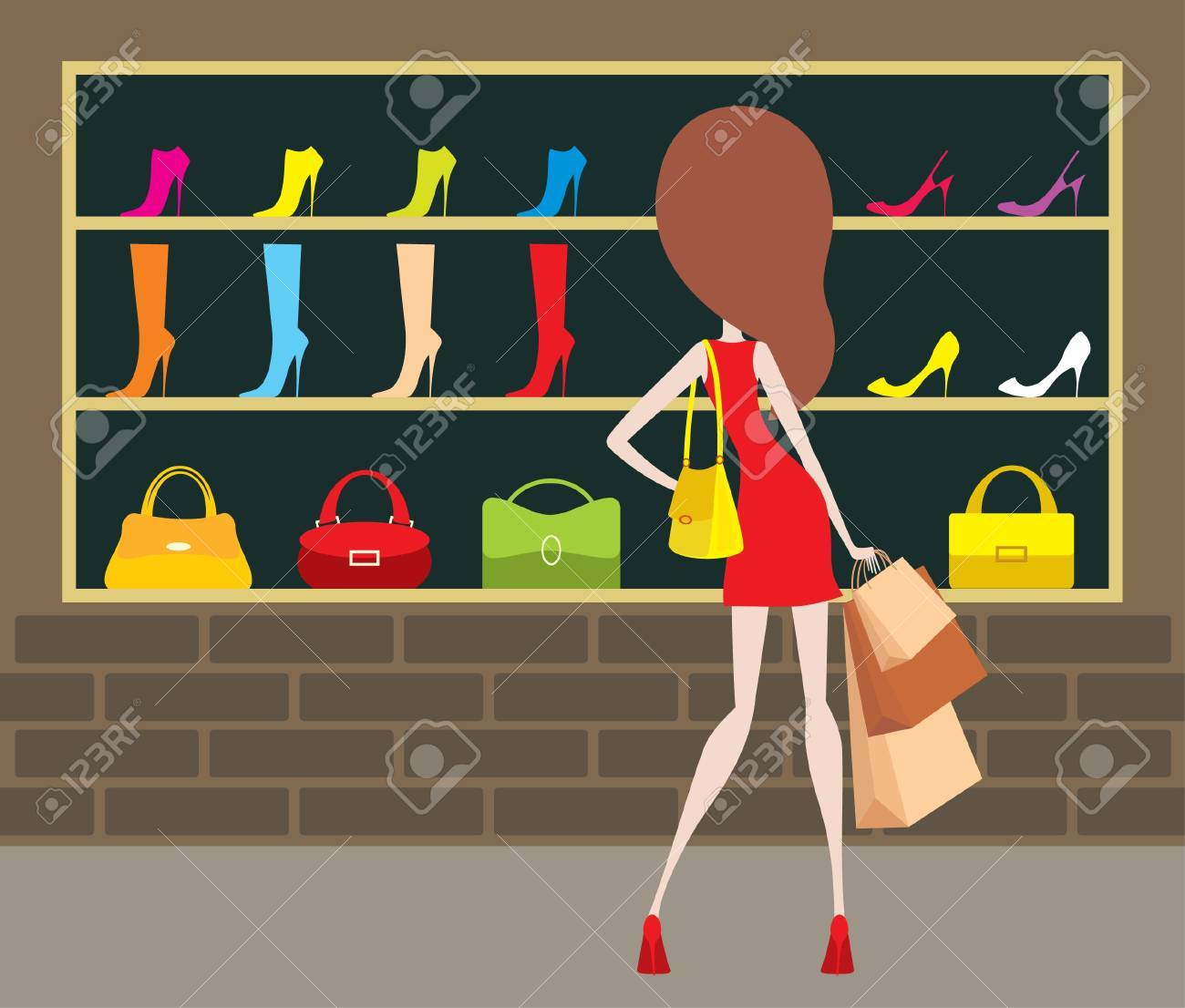 Woman at a shop-front. Stock Vector - 12480890