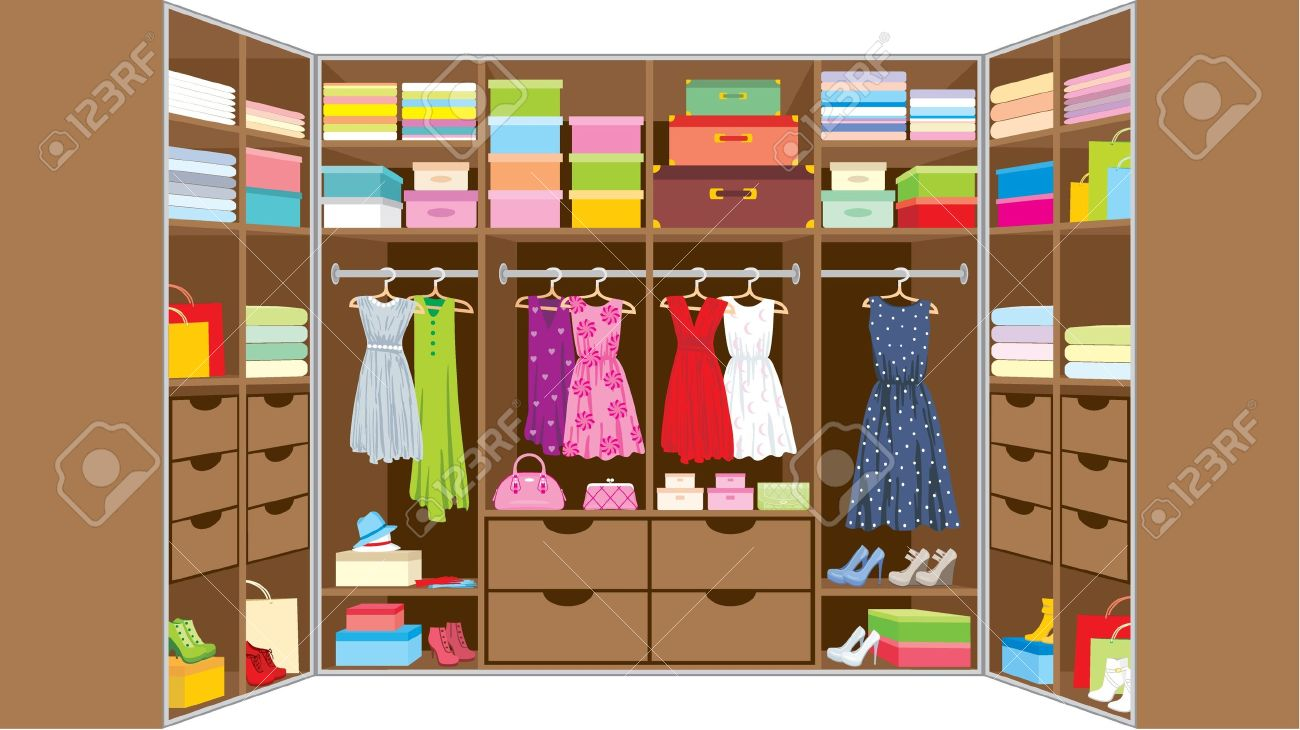 Kleiderschrank clipart  Begehbarer Schrank Möbel Lizenzfrei Nutzbare Vektorgrafiken, Clip ...