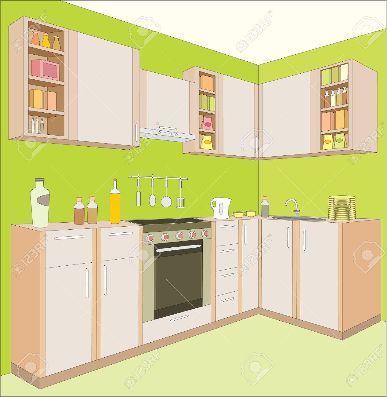 muebles de cocina interior foto de archivo