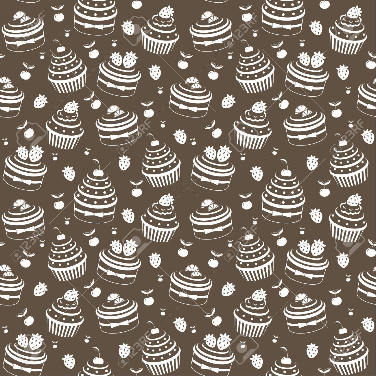 Seamless cupcake pattern Stock Vector - 12922538