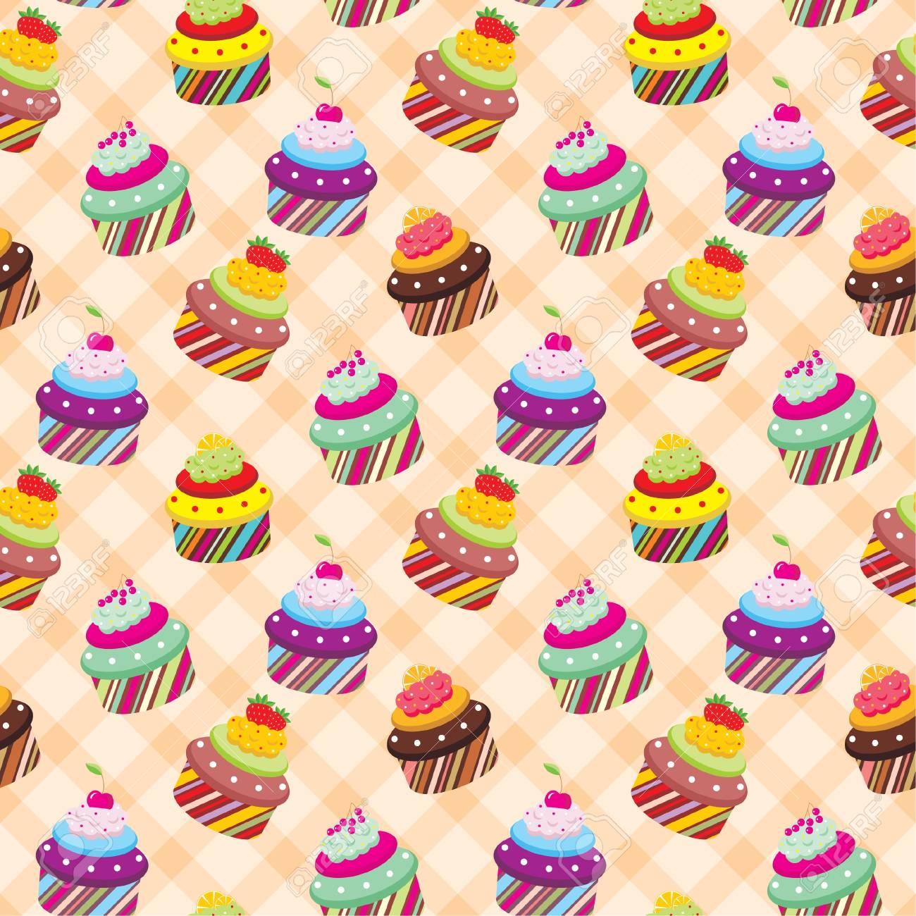 Seamless cupcake pattern Stock Vector - 12922540