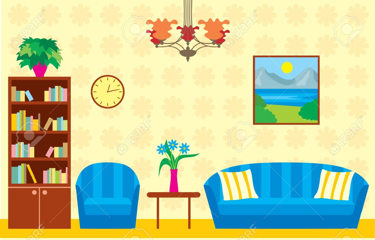 Living Room Stock Vector   13610364