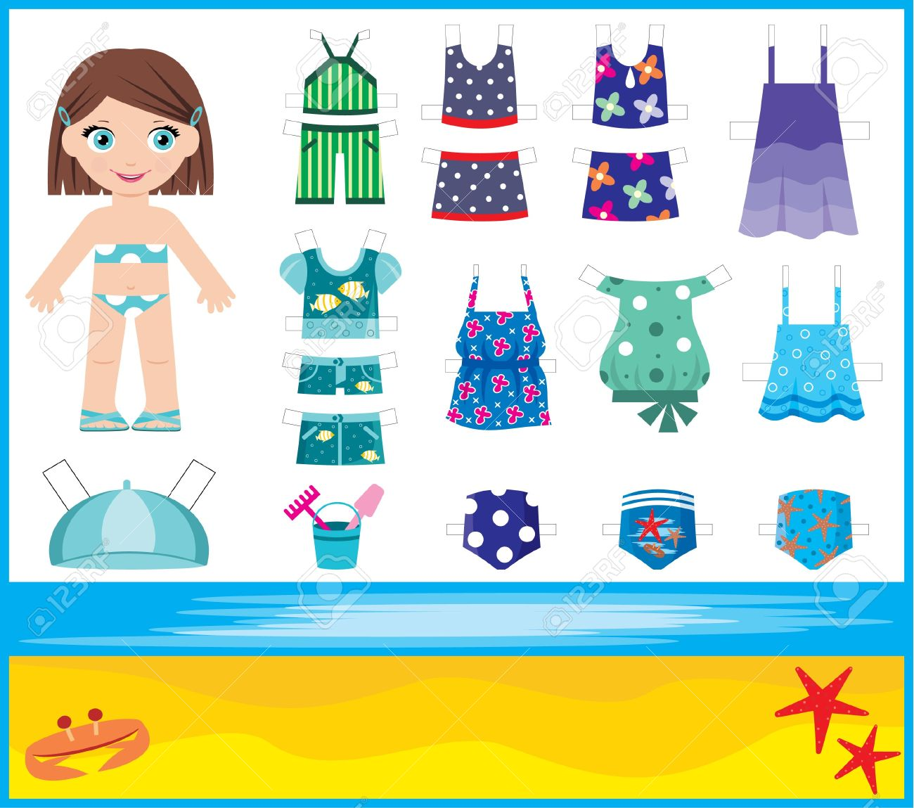 Paper doll with summer set of clothes Stock Vector - 13746715