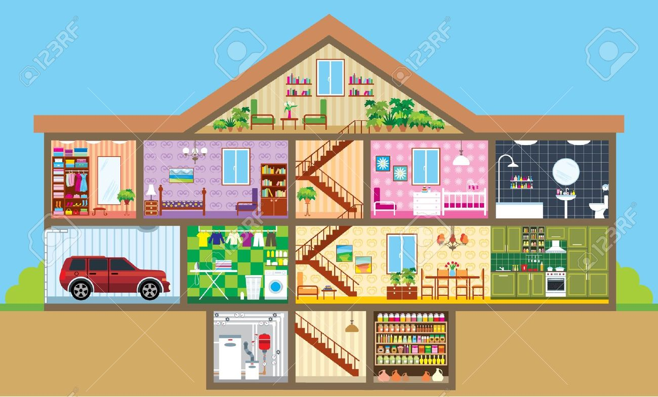 All rooms in the house rooms of homes vector art image illustration - House In A Cut Stock Vector 13746718