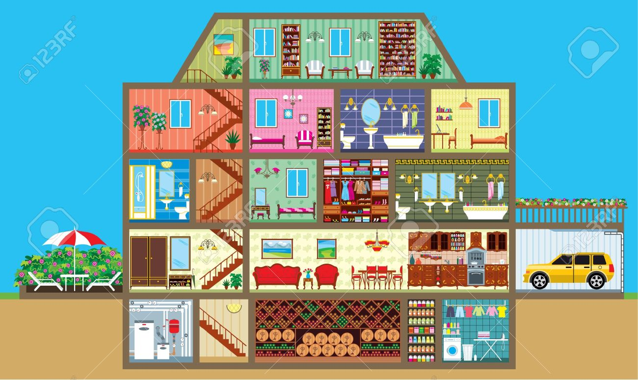 All rooms in the house rooms of homes vector art image illustration - House In A Cut Stock Vector 14001297