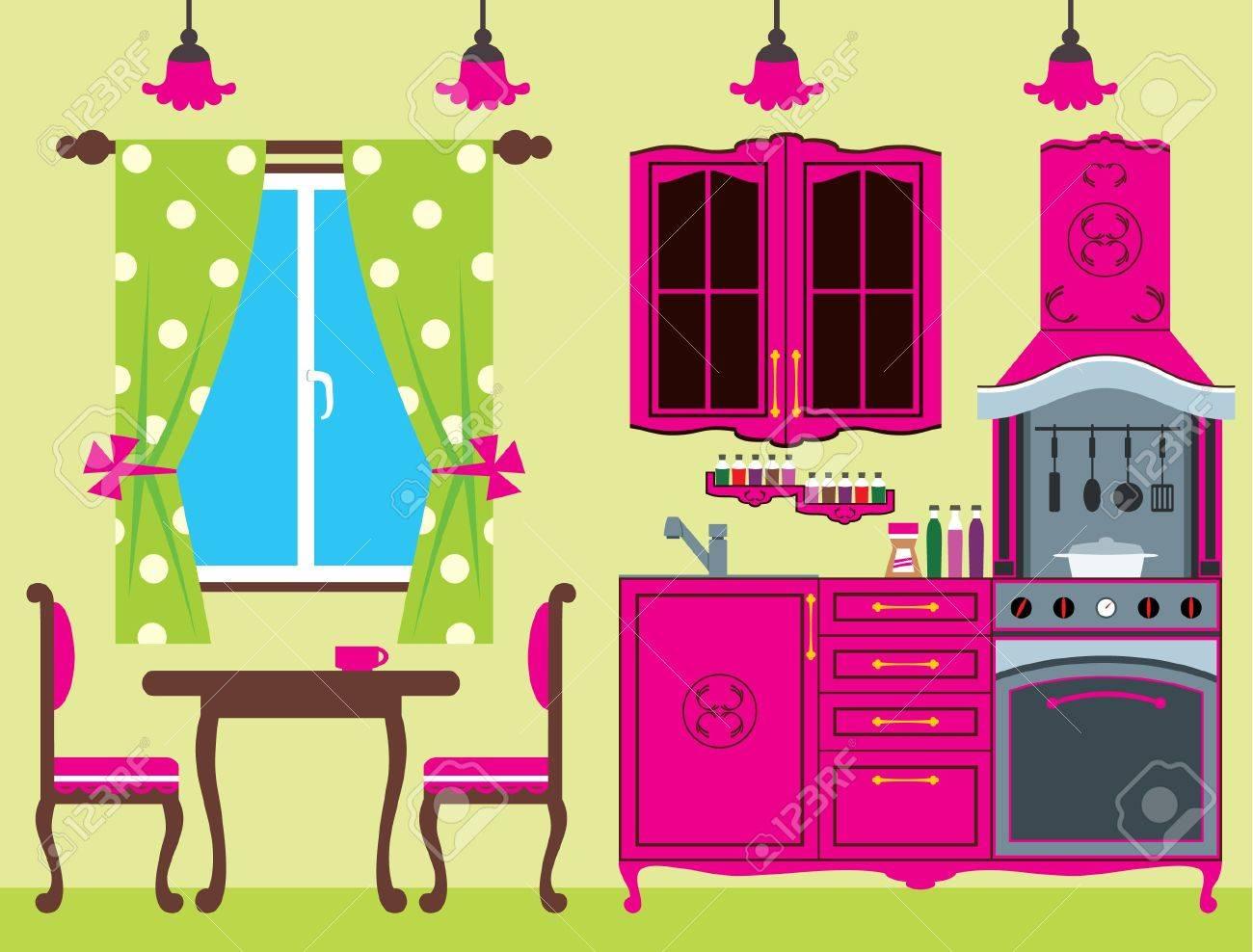 Kitchen furniture  Interior Stock Vector - 14446562
