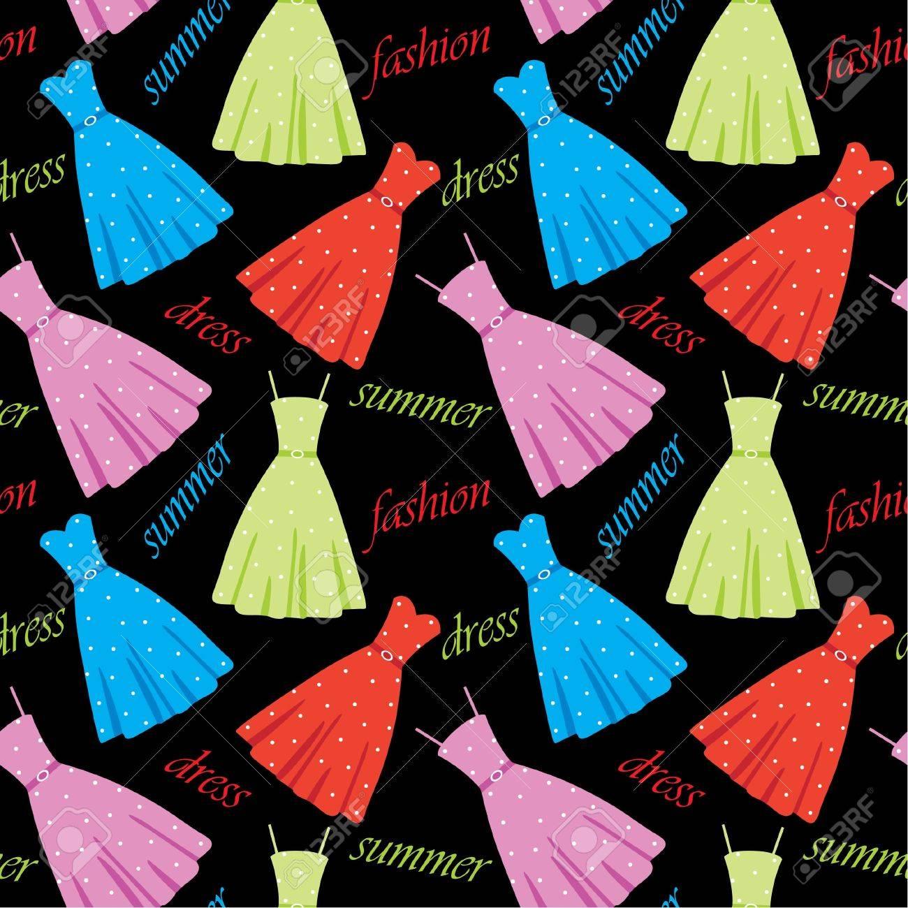 Seamless summer dresses pattern Stock Vector - 14446550