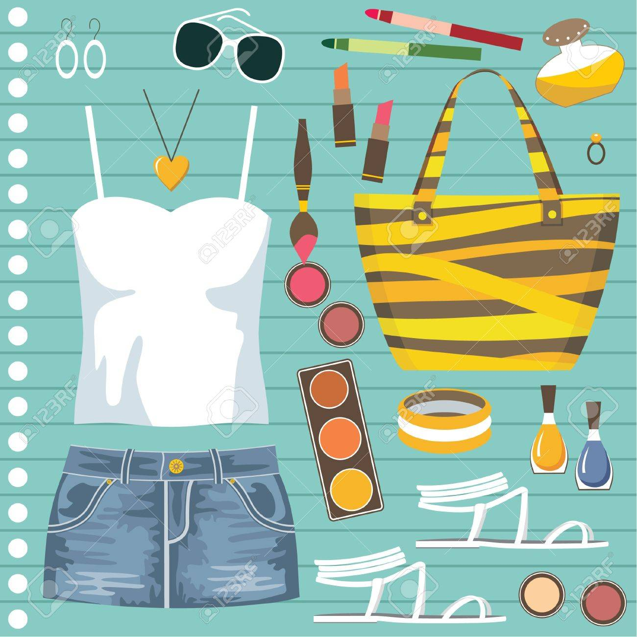 Fashion set with jeans skirt Stock Vector - 14601968