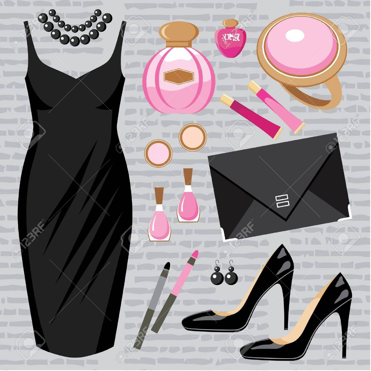 Fashion set with a cocktail dress Stock Vector - 14891129