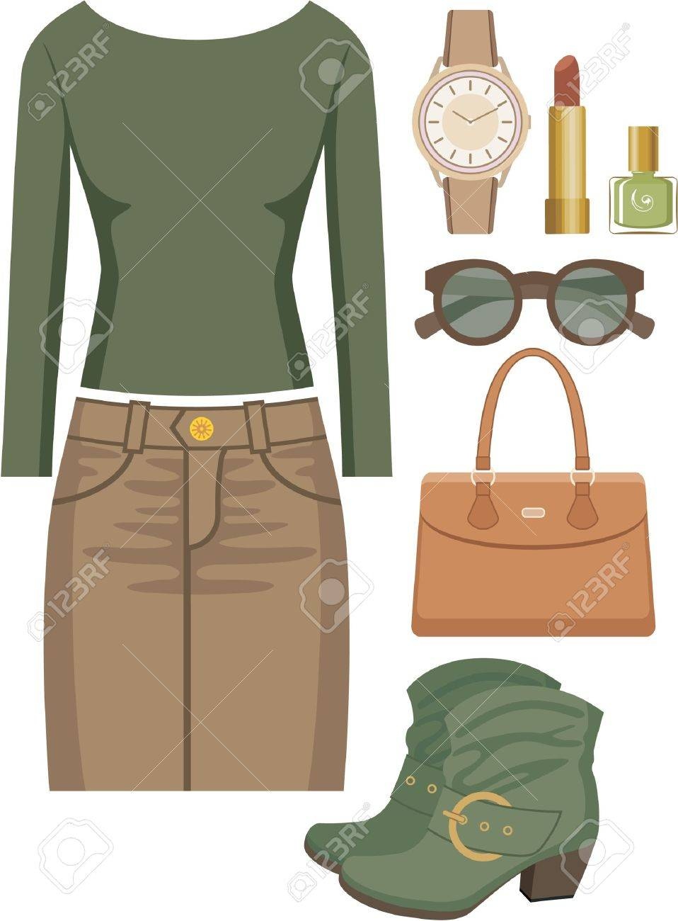 Fashion set with a skirt and a sweater Stock Vector - 15239230