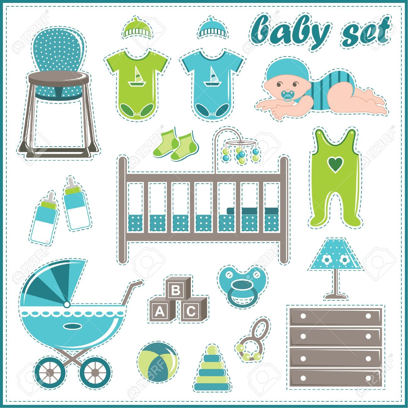 c63baf1b4 Scrapbook Elements With Baby Boy Things Royalty Free Cliparts ...