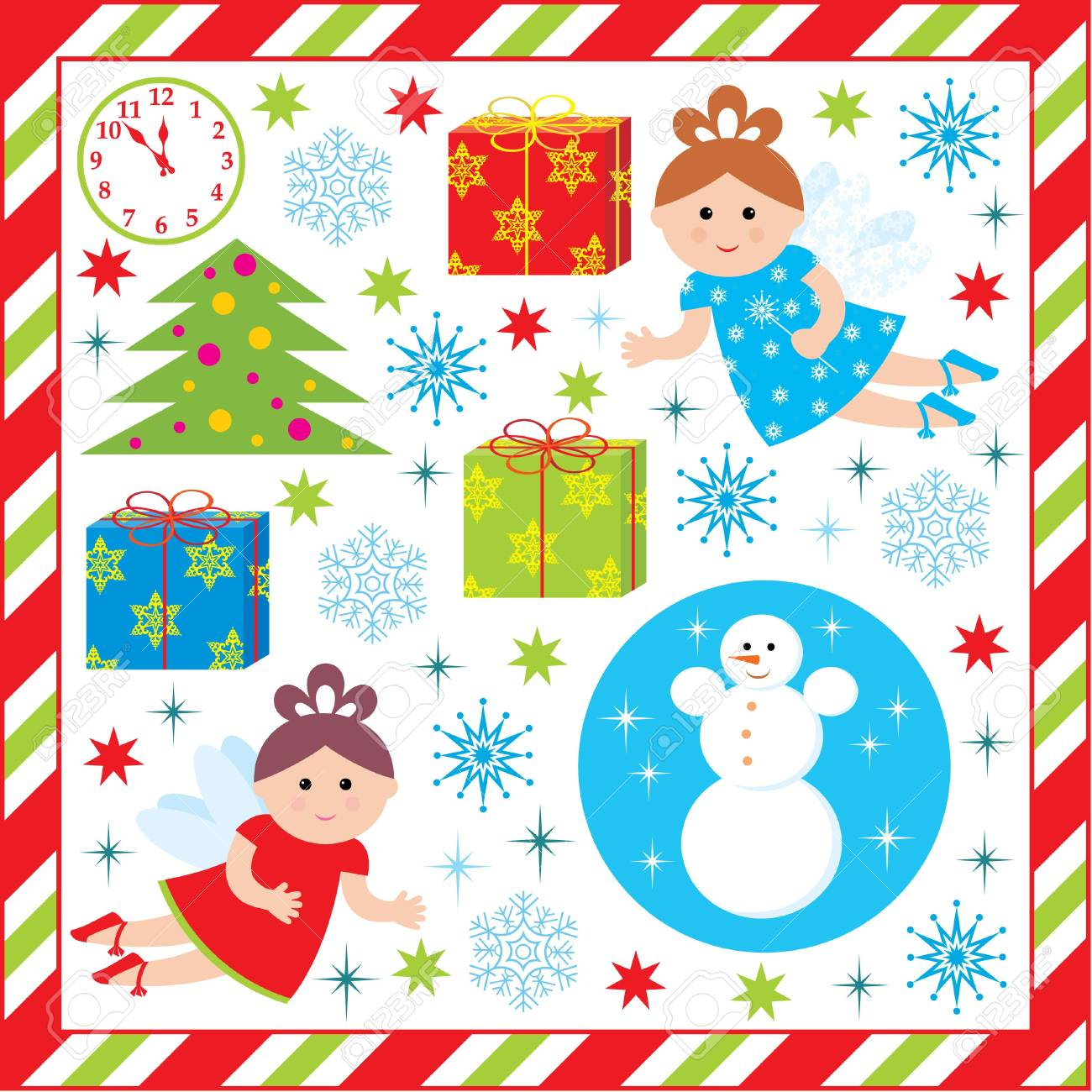 Scrapbook elements with with christmas and new-year characters Stock Vector - 16825780