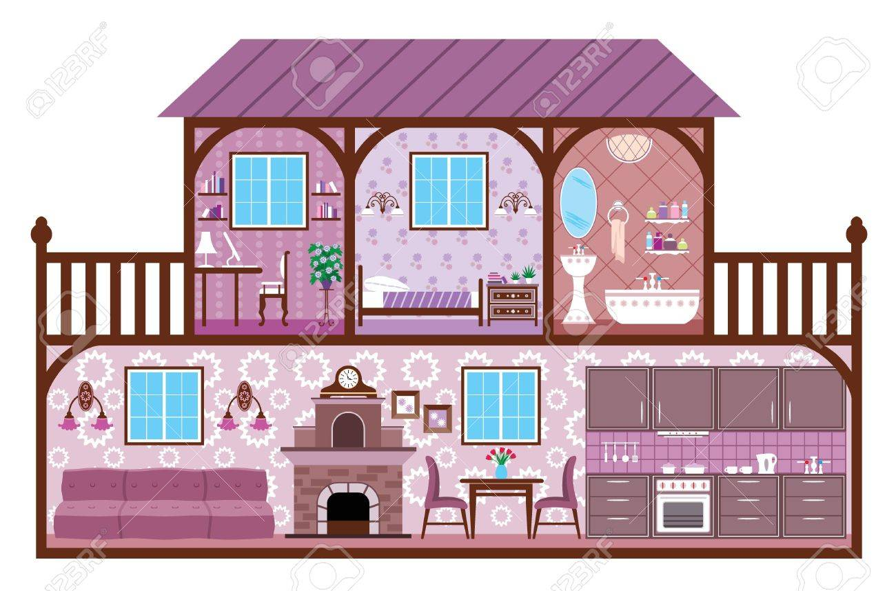 All rooms in the house rooms of homes vector art image illustration - The Image Of Rooms Of A House With Design Elements Stock Vector 17163781