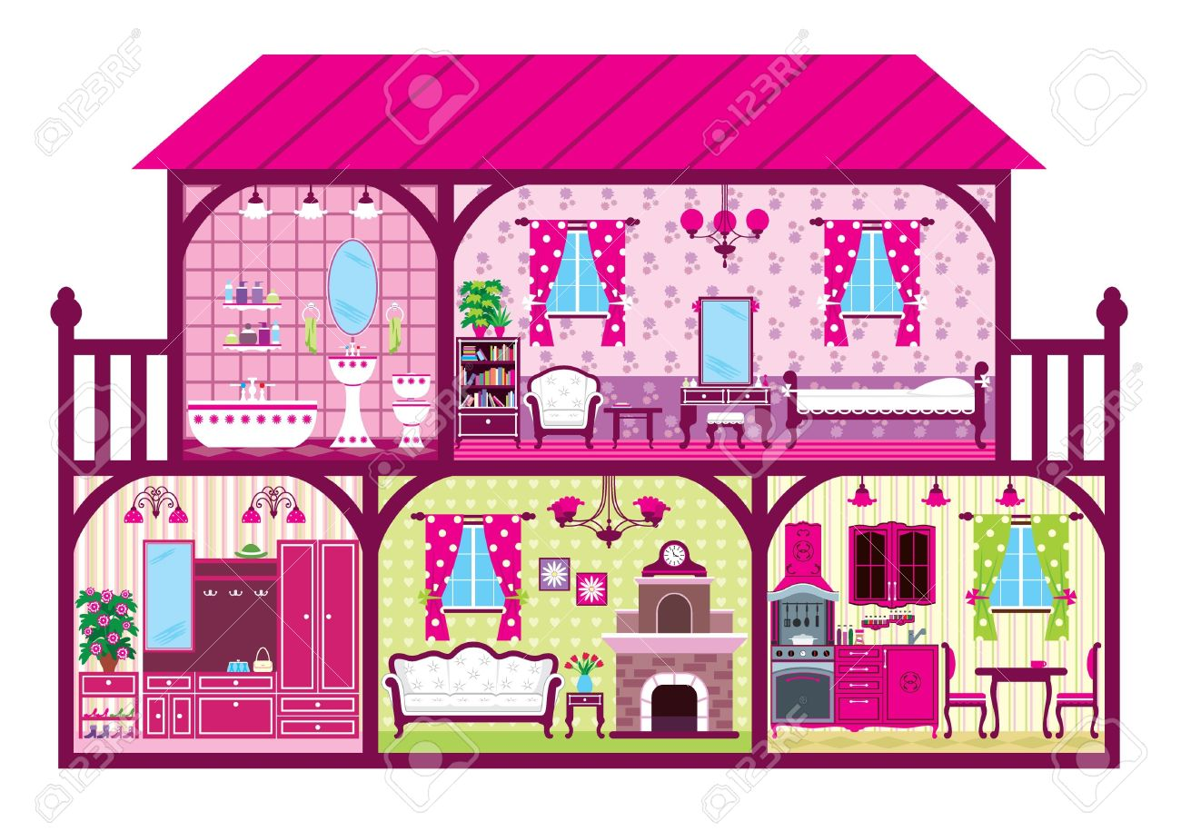 House for the girl in a cut in pink. Stock Vector - 17163778