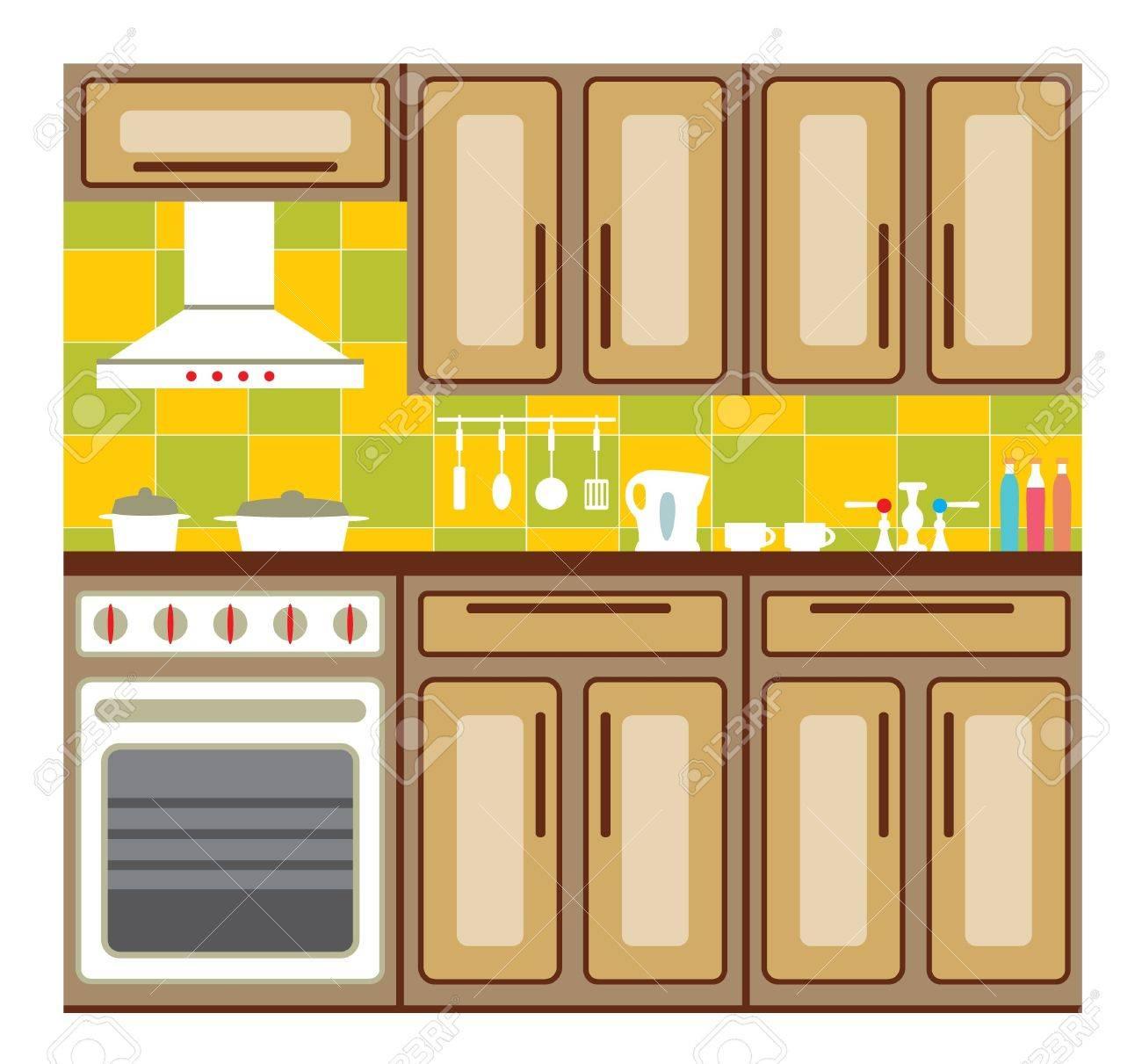 Cocina interior con elementos de diseño y accesorios de cocina.