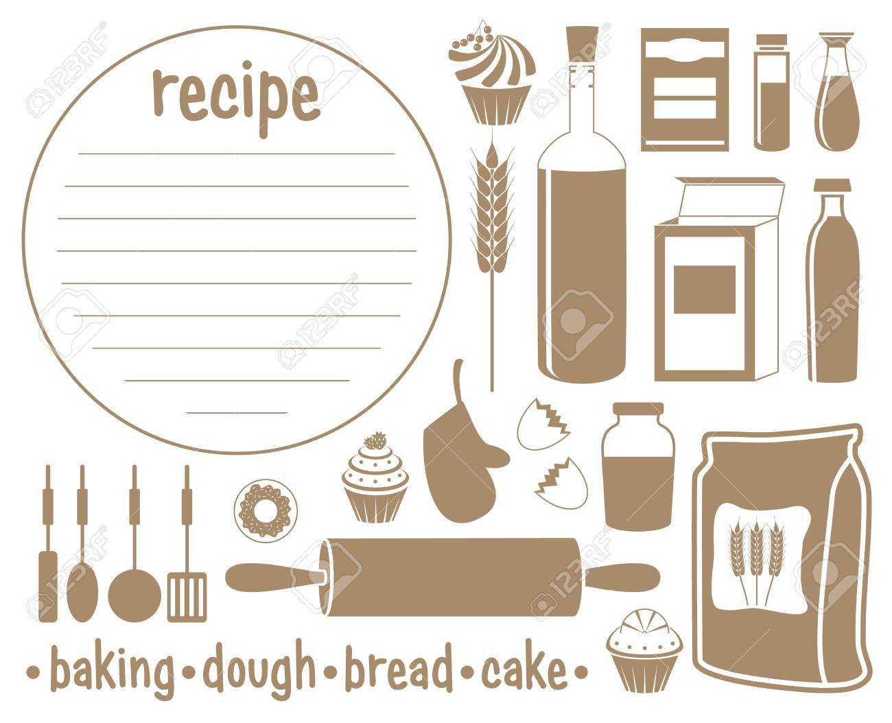 Set of products for baking. Recipe Stock Vector - 18358062
