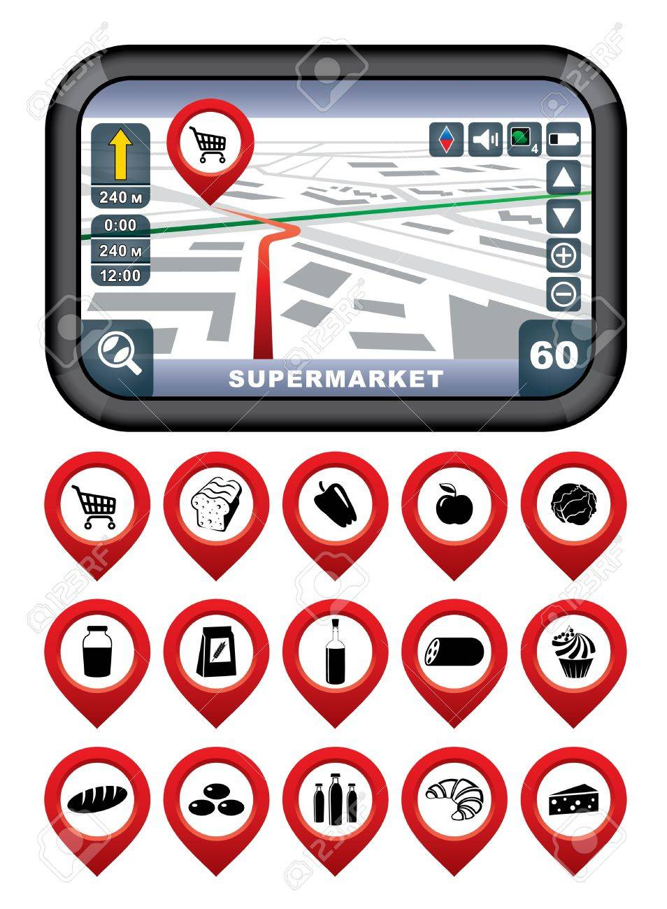 GPS navigator with the pointer supermarket Stock Vector - 21458101