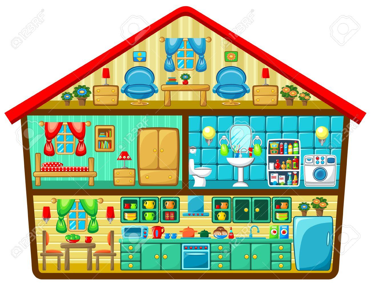 Banque dimages maison de dessin animé dans une coupe vector illustration