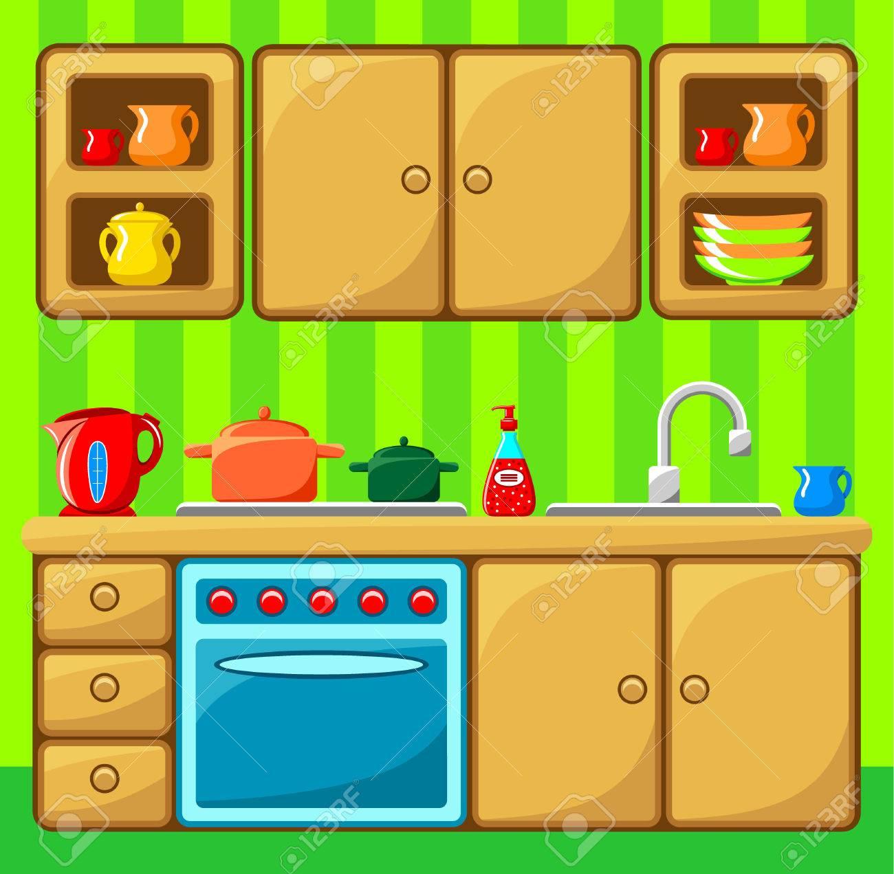 Interior De La Cocina Ilustración Vectorial Ilustraciones