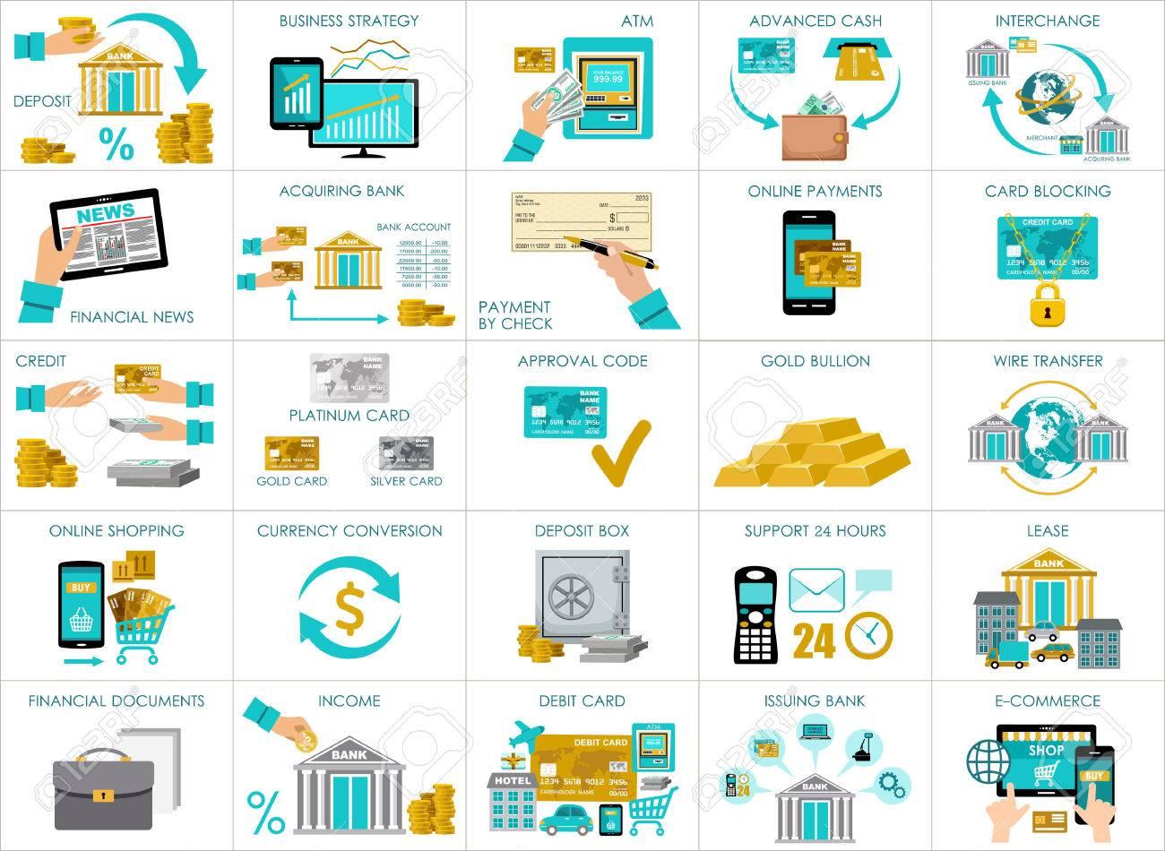 大きな銀行セットです銀行業務のイラストを含むベクトルのイラスト素材
