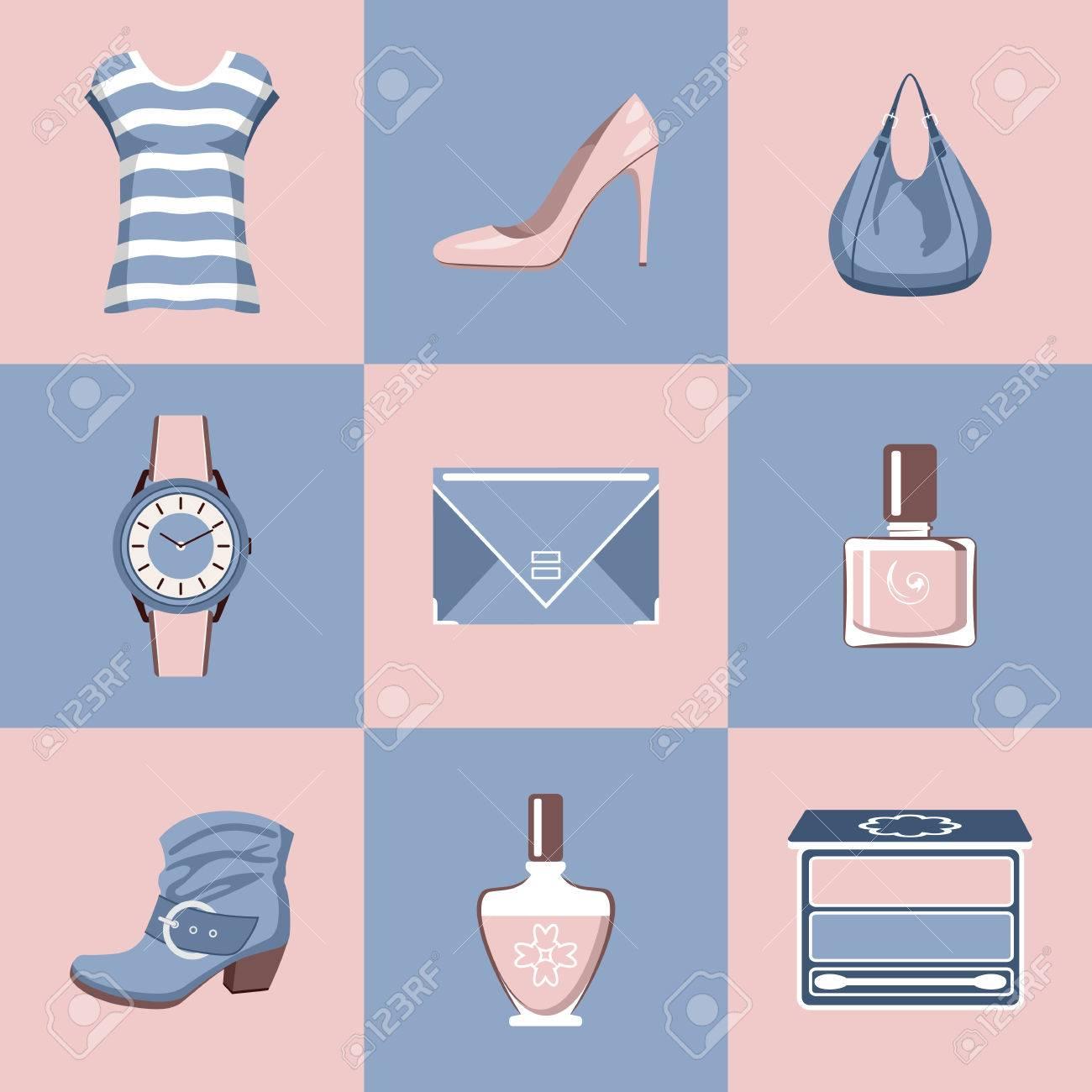 21b304d1 Foto de archivo - Moda encuentra en un diseño plano estilo. Ropa, calzado,  cosméticos, accesorios. ilustración vectorial