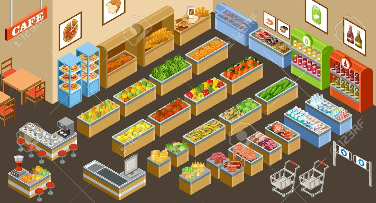 Vector illustration of a supermarket. Sale of fruit, vegetables, milk, meat and fish. Cafe. Coffee and juice. - 52476347