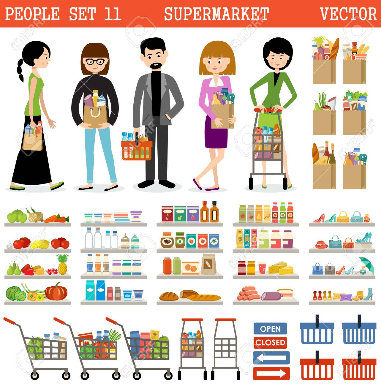 People in a supermarket with purchases and products Foto de archivo - 58037437