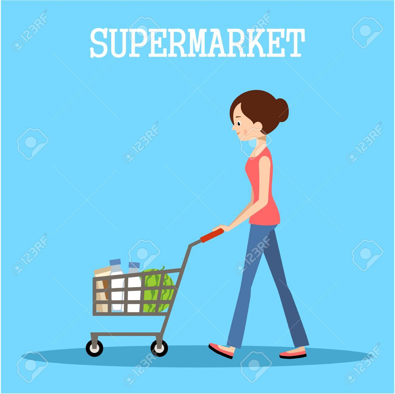 People in a supermarket with purchases. Retail store illustration. Vector Foto de archivo - 61056048