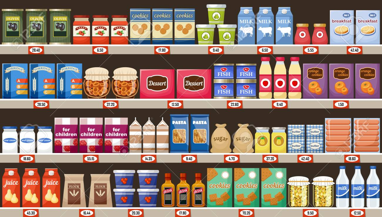 Supermarket, shelves with products and drinks. Vector - 91394399