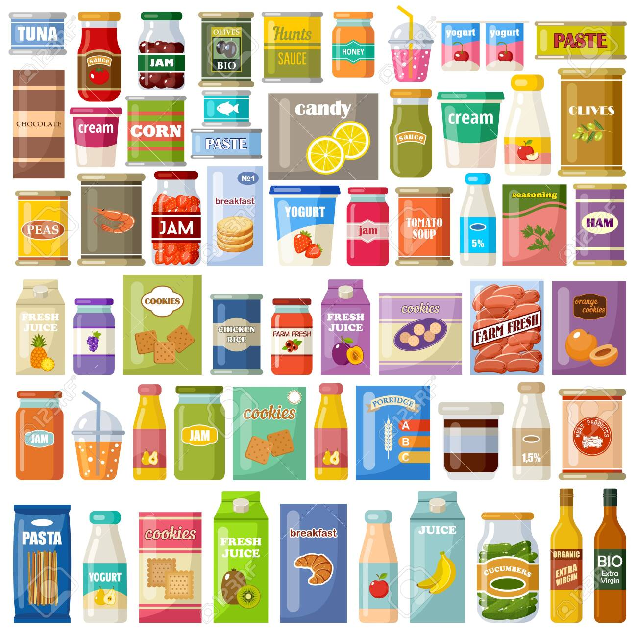 Set of products on a white background. Grocery. Gastronomy. Canned food, juice, jam, cookies. Vector flat illustration. - 141028047
