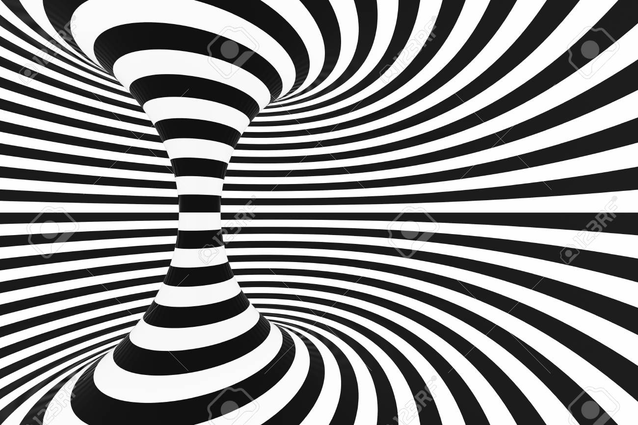 106802070 black and white spiral tunnel striped twisted hypnotic optical illusion abstract background 3d rende