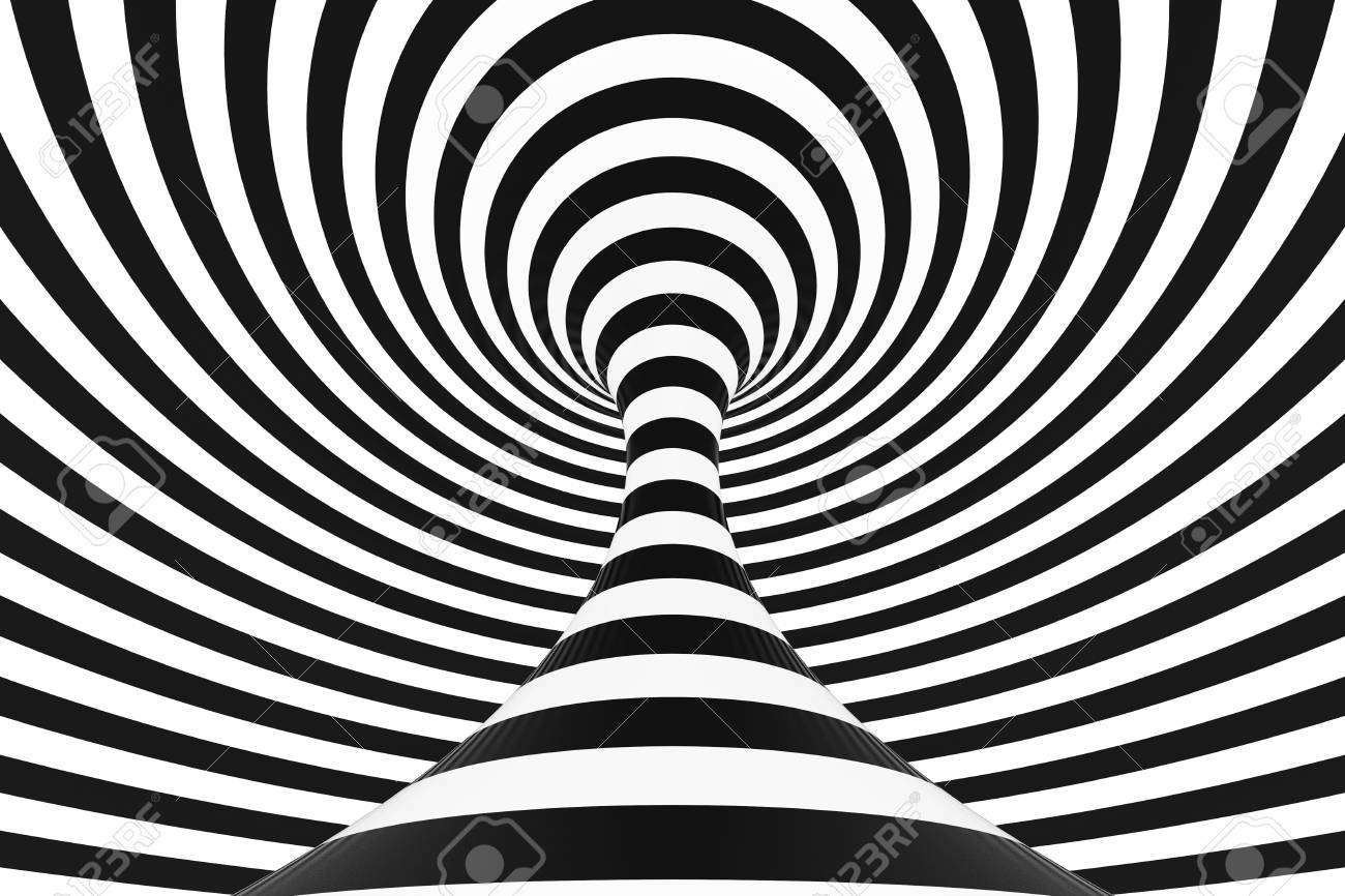 106802704 black and white spiral tunnel striped twisted hypnotic optical illusion abstract background 3d rende