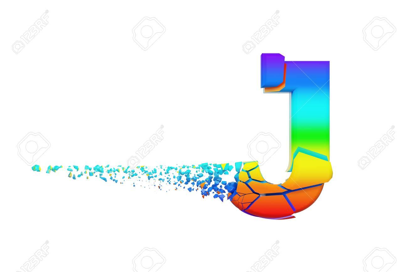Broken shattered iridescent alphabet letter J uppercase. Crushed rainbow font. 3D render isolated on white background. Typographic symbol from spectrum cracked debris. - 107936495