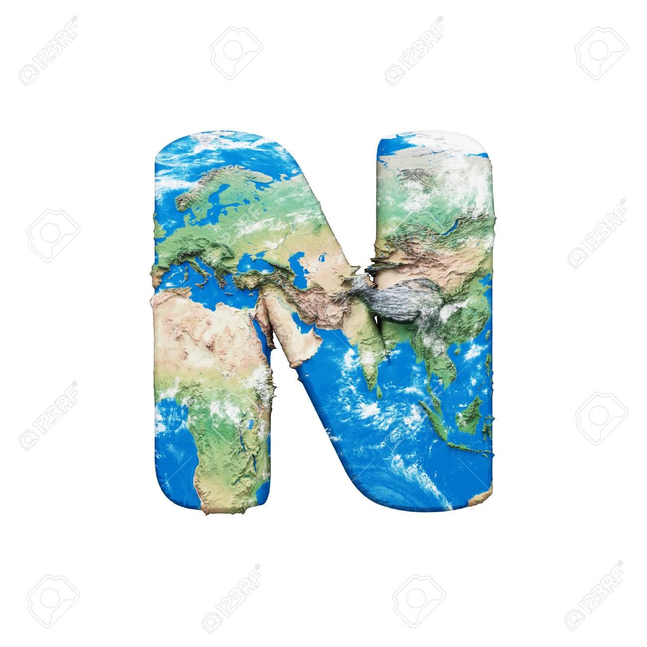 World Earth Globe Alphabet Letter N Uppercase Global Worldwide