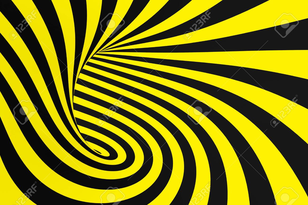 Black And Yellow Spiral Tunnel From Police Ribbons Striped Twisted Hypnotic Optical Illusion Warning Safety Background 3D Render Rotating Infinite