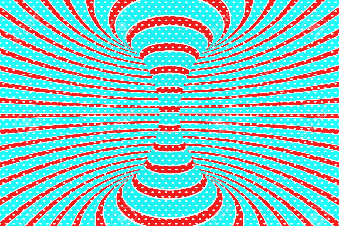 Christmas Festive Red And Blue Spiral Tunnel Striped Twisted Xmas Optical Illusion Hypnotic Background 3D Render Illustration December Winter