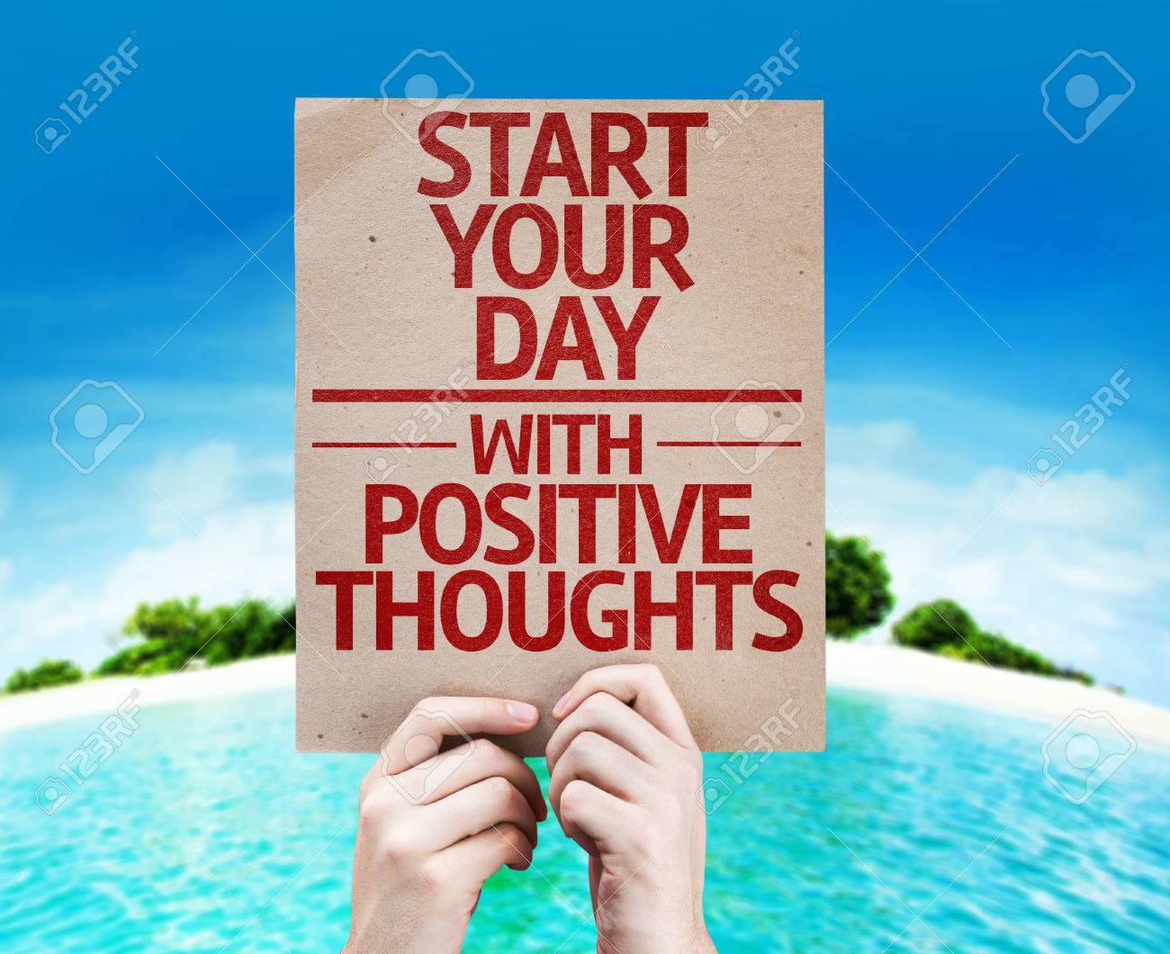 Hands Holding Cardboard With Start Your Day With Positive Thoughts Stock Photo Picture And Royalty Free Image Image 55755436