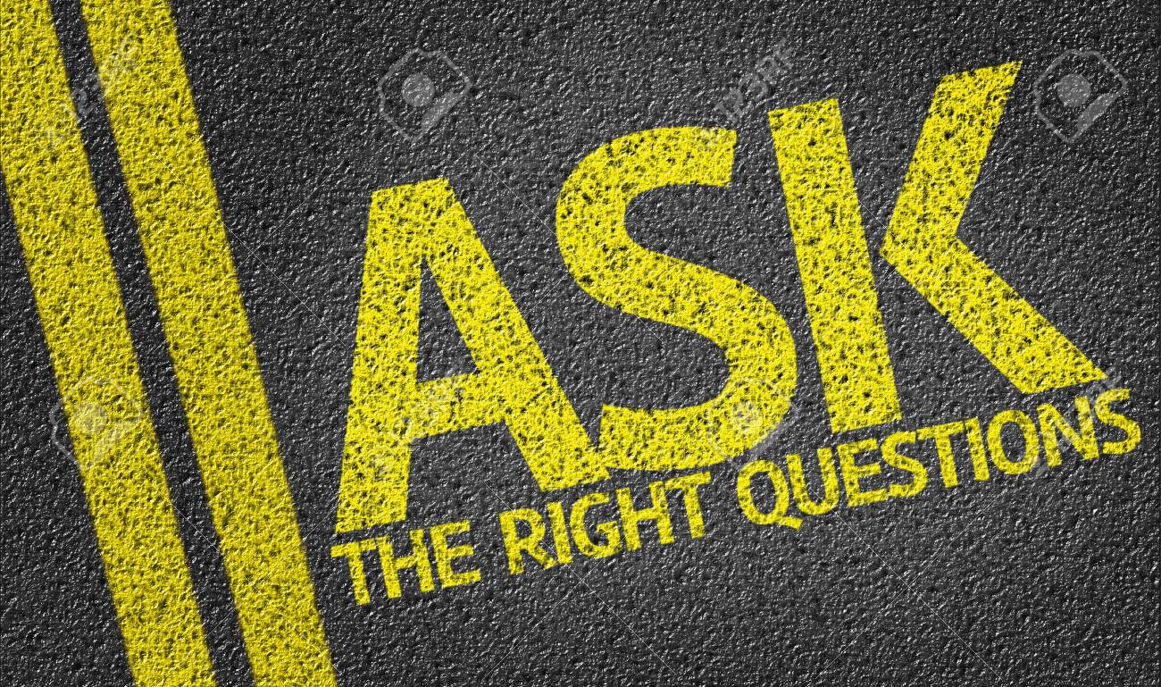 Ask The Right Questions written on the road - 57868021