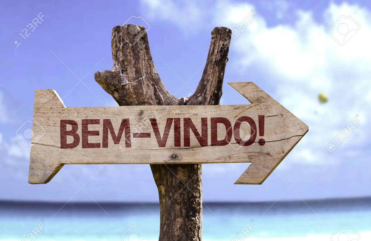 Bem Vindo Welcome In Portuguese Sign With Arrow On Beach Stock Photo Picture And Royalty Free Image Image 61777625