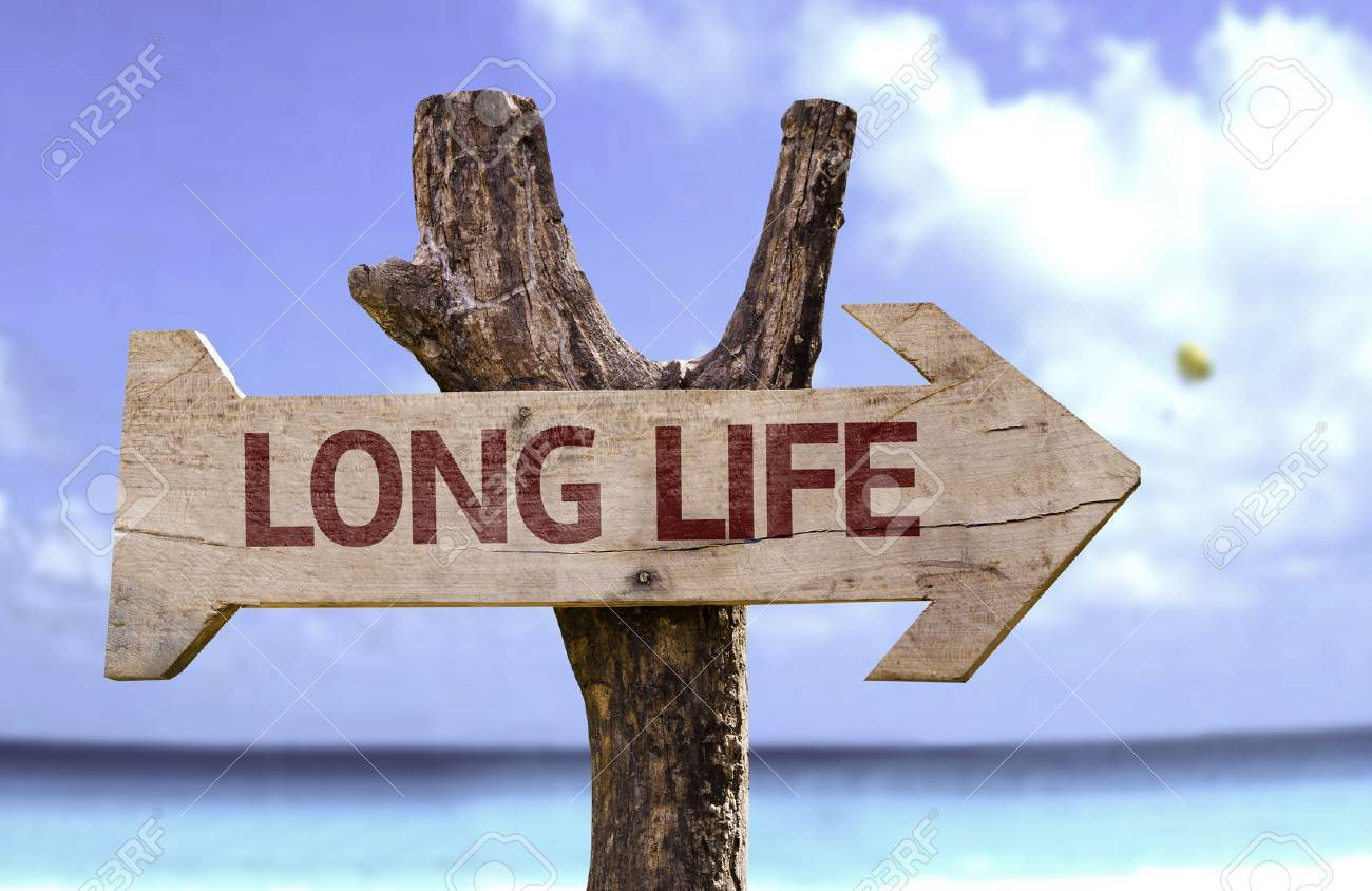 Long life sign with arrow on beach background - 62034104
