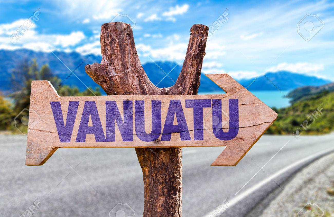 Vanuatu Sign With Arrow On Road Background Stock Photo, Picture And Royalty  Free Image. Image 62123539.