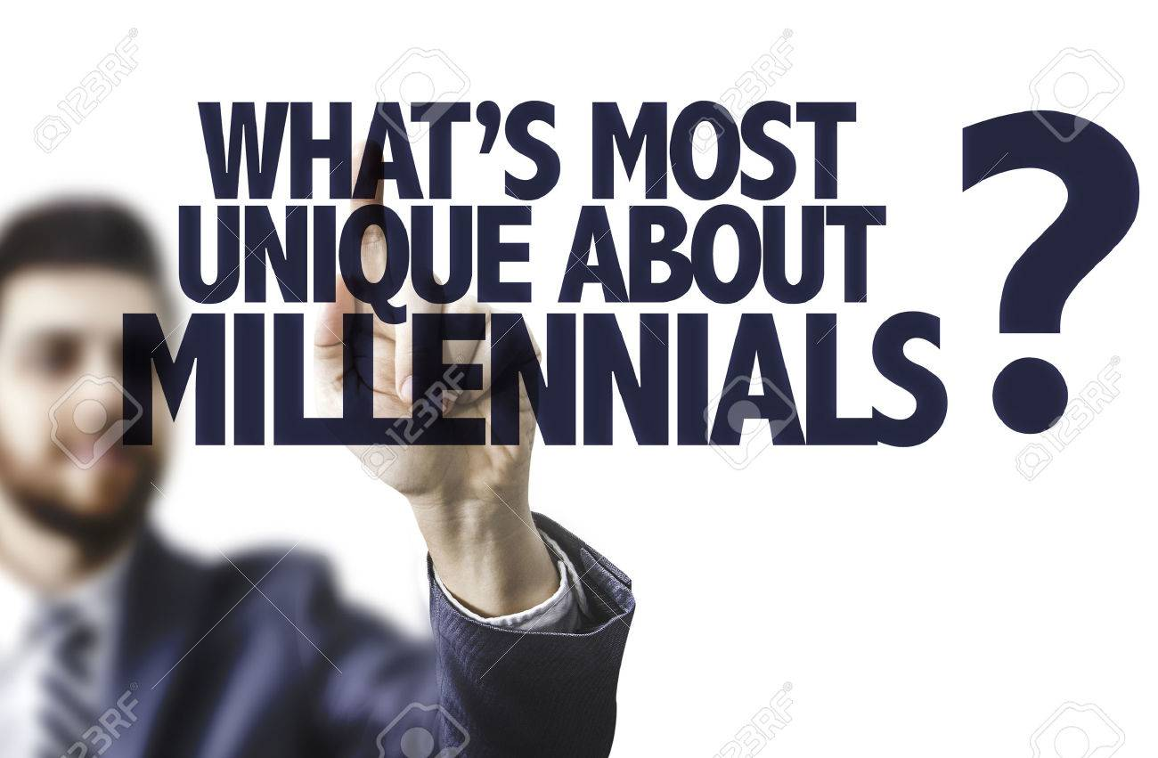 Business man pointing to transparent board with text: What's the most unique about millennials? - 63769790